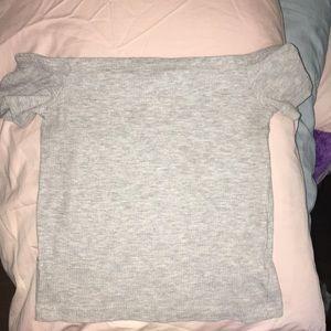 grey off the shoulder crop top